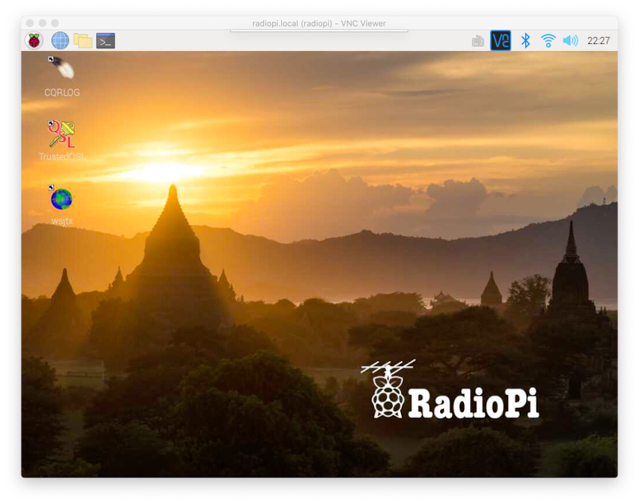 Log in to the RadioPi desktop for the first time